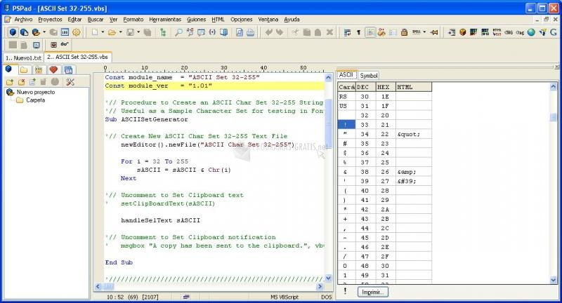 Pantallazo ASCII Set 32-255 Generator