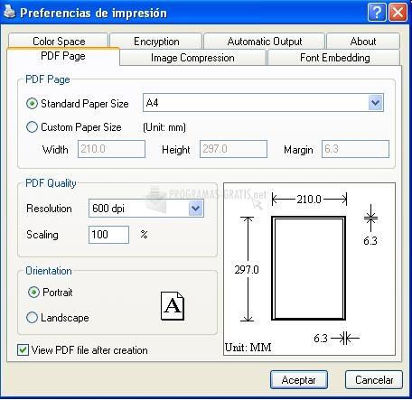 Pantallazo Vista PDF Creator