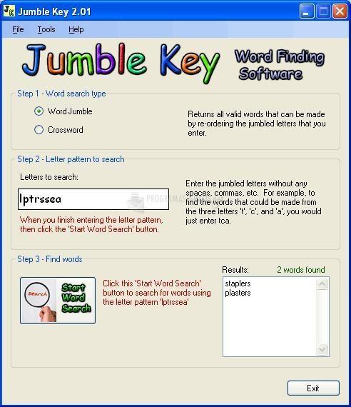 Pantallazo Jumble Key