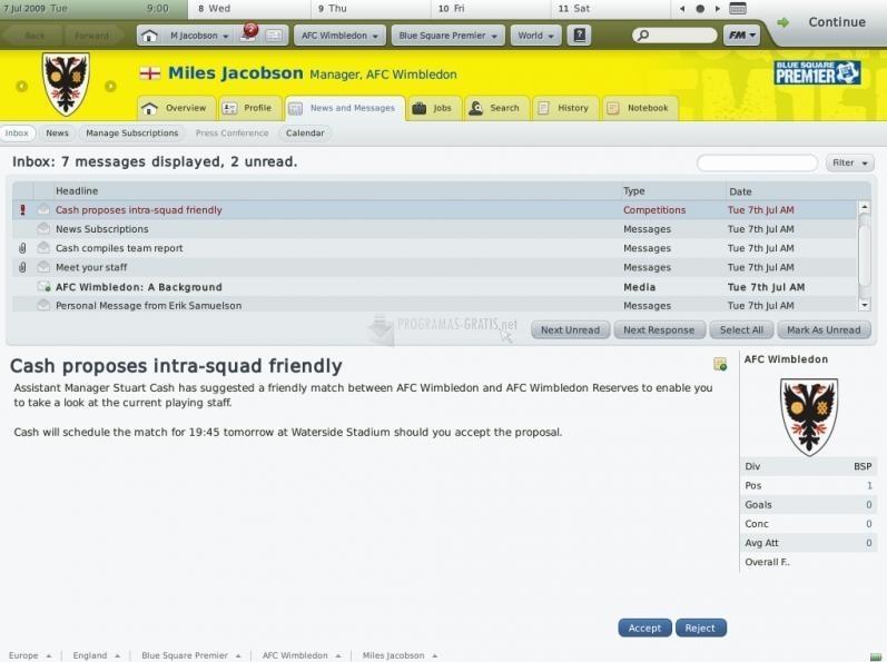 Pantallazo Football Manager 2010 Vanilla