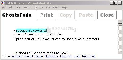 Pantallazo 12Ghosts Notepad