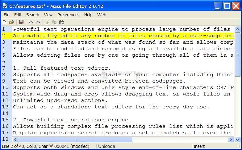 Pantallazo Easy File Editor