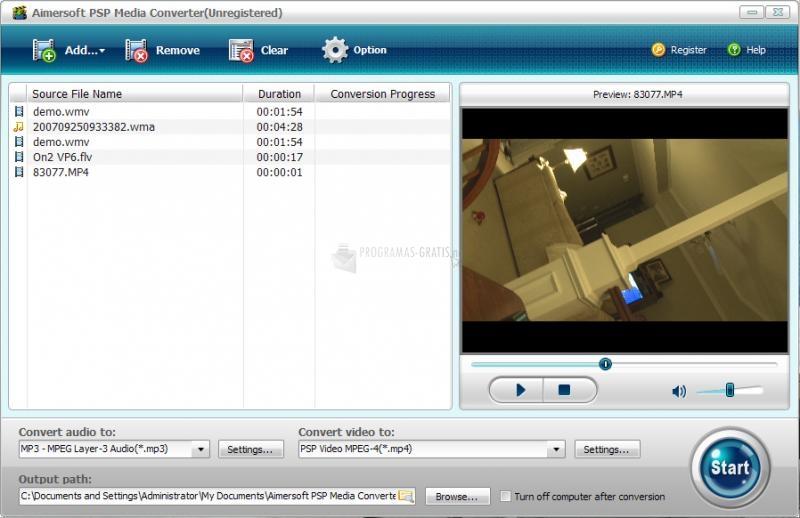 Pantallazo Aimersoft PSP Media Converter