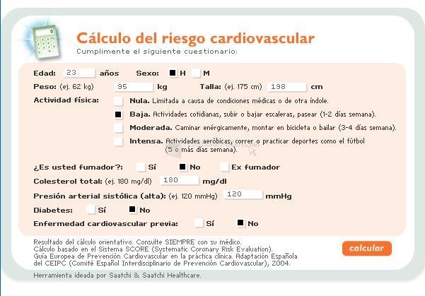 Pantallazo Calculadora Riesgo Cardiovascular