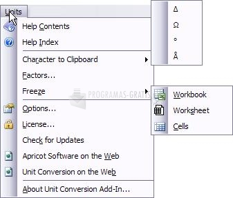Pantallazo Excel Unit Conversion Add-In