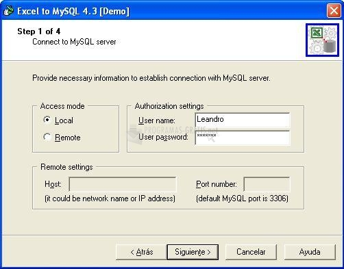 Pantallazo Excel to MySQL