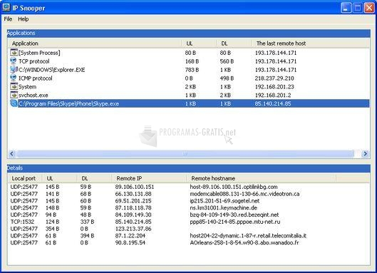 Pantallazo IP Traffic Snooper