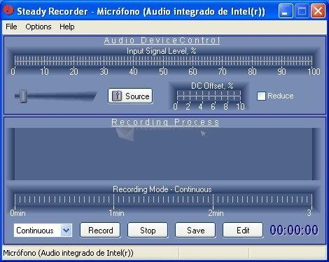 Pantallazo Steady Recorder