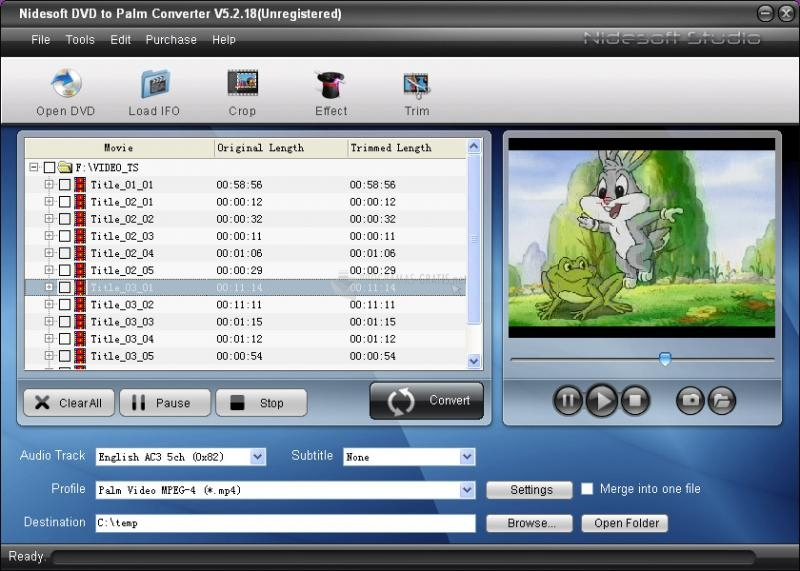 Pantallazo Nidesoft DVD to Palm Converter