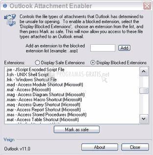 Pantallazo Outlook Attachment Enabler