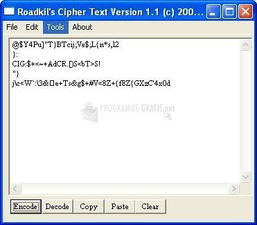 Pantallazo Roadkil´s Cipher Text