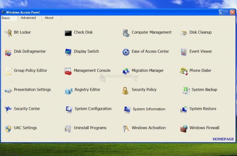 Pantallazo Windows Access Panel