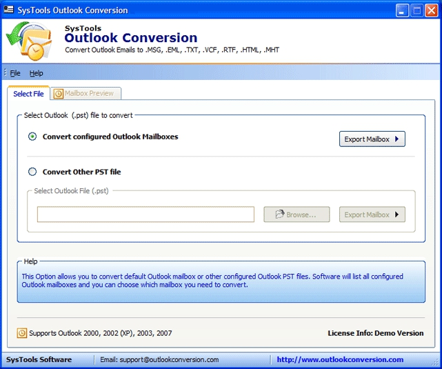 Pantallazo SysTools Outlook Conversion