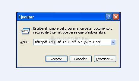 Pantallazo Tiff to PDF Command Line