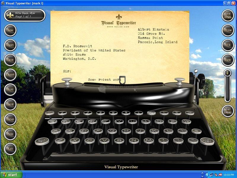 Pantallazo Visual Typewriter