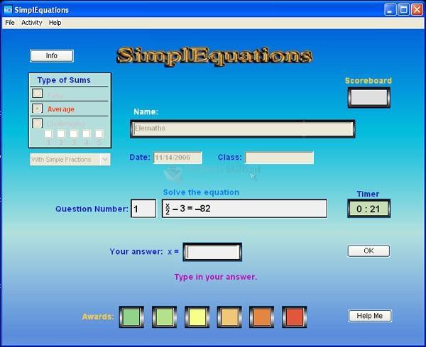 Pantallazo SimplEquations