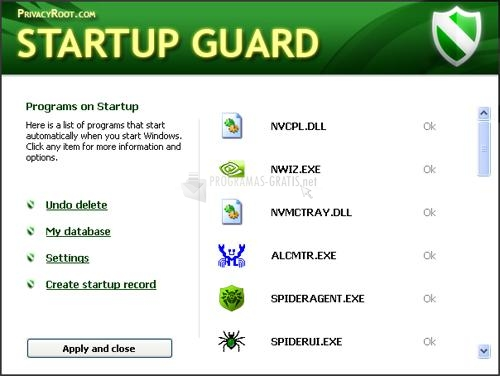Pantallazo Startup Guard