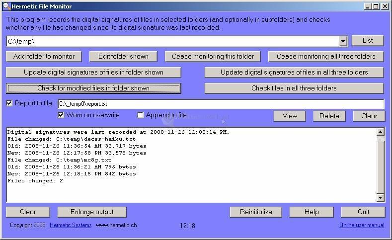 Pantallazo Hermetic File Monitor