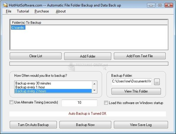 Pantallazo Automatic File Folder Backup
