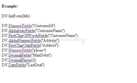 Pantallazo Data Entry Validator