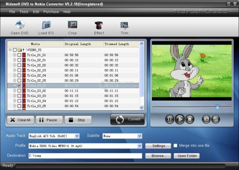 Pantallazo Nidesoft DVD to Nokia Converter