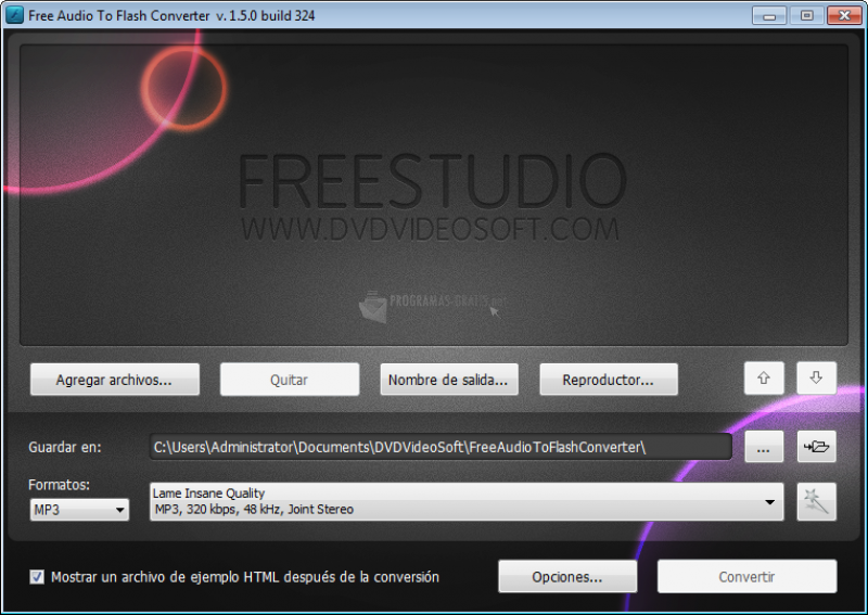 Pantallazo Free Audio to Flash Converter