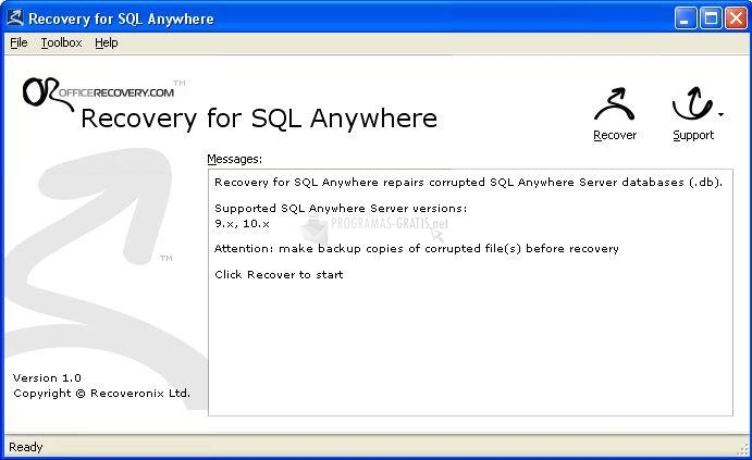 Pantallazo Recovery for SQL Anywhere
