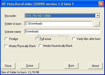 Pantallazo XP Vista Folder Burn Beta
