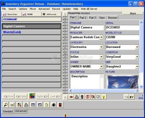 Pantallazo Inventory Organizer Deluxe