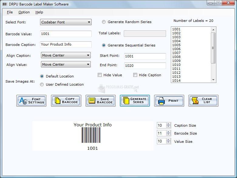 Pantallazo Barcode label maker