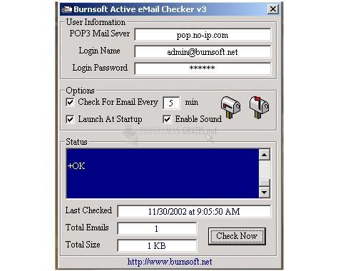 Pantallazo Active eMail Checker