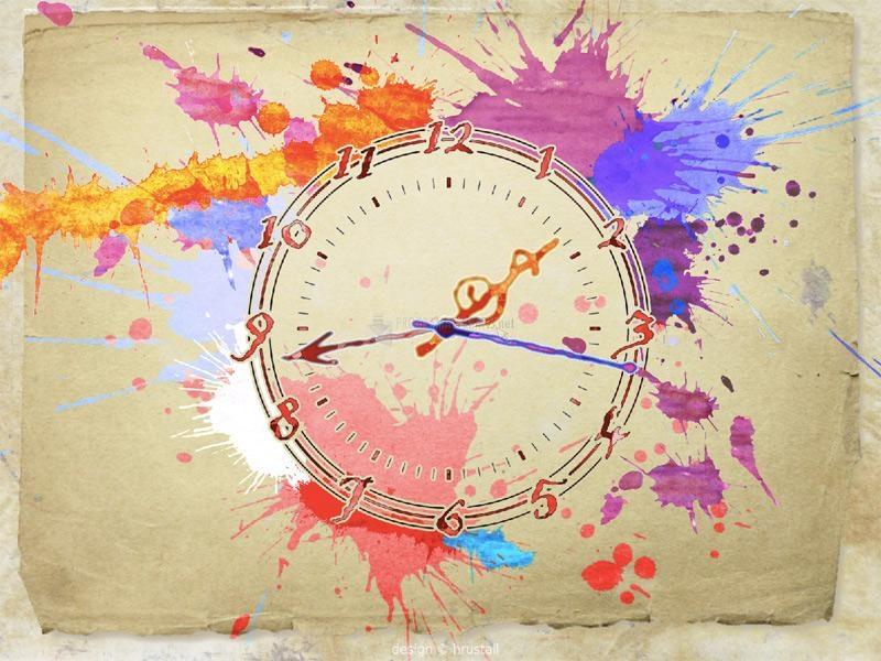 Foto Water Color Clock Screensaver
