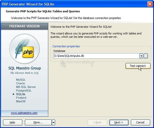 Pantallazo SQLite PHP Generator