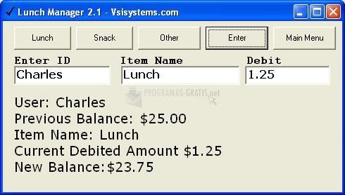 Pantallazo Lunch Manager Buddy