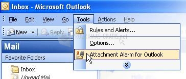 Pantallazo Attachments Alarm for Outlook