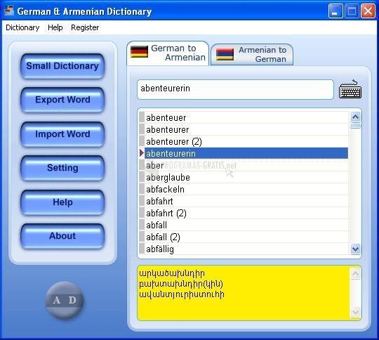 Pantallazo German & Armenian Dictionary