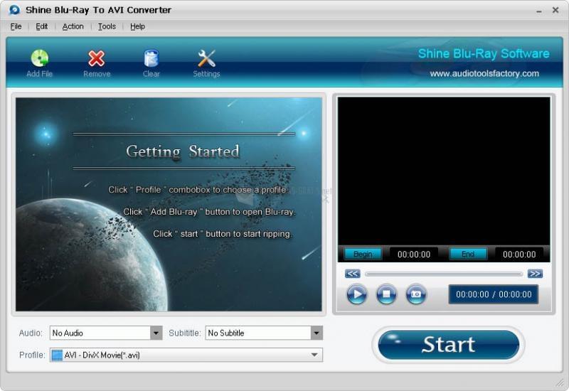 Pantallazo Shine Blu-Ray to AVI Converter