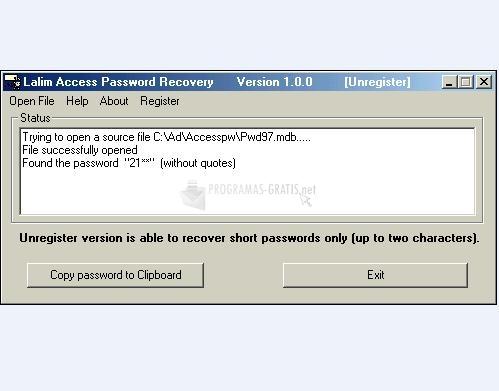 Pantallazo Lalim Access Password Recovery