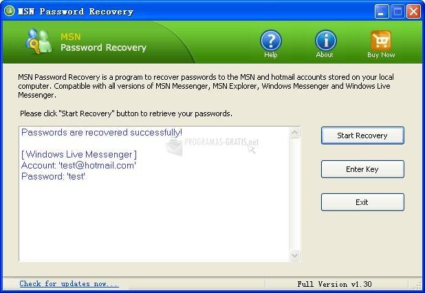 Pantallazo MSN Password Recovery
