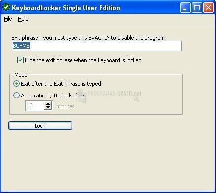 Pantallazo Keyboard Locker