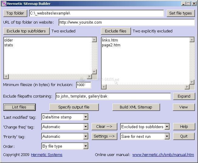 Pantallazo Hermetic Sitemap Builder