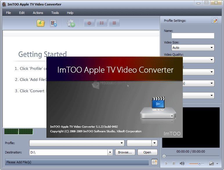 Pantallazo ImTOO Apple TV Video Converter