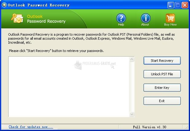 Pantallazo Outlook Password Recovery TP