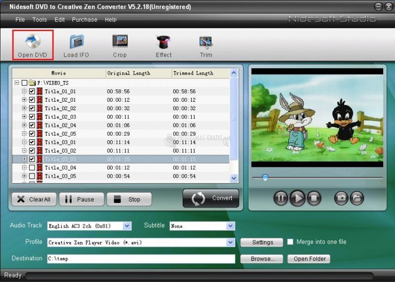Pantallazo DVD to Creative Zen Converter
