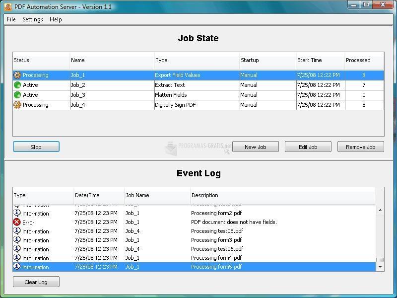 Pantallazo PDF Automation Server