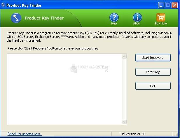 Pantallazo Product Key Finder