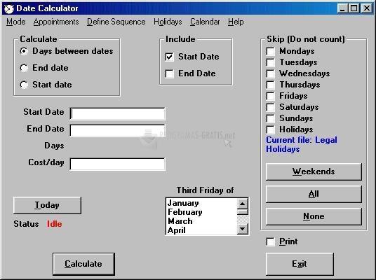 Pantallazo Leithauser Date Calculator
