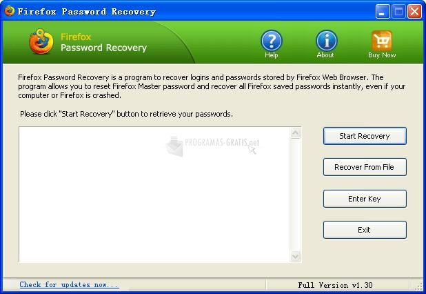 Pantallazo Firefox Password Recovery