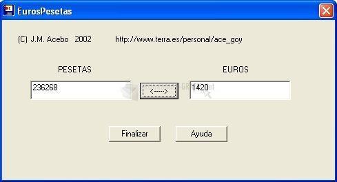 Pantallazo Euros Pesetas