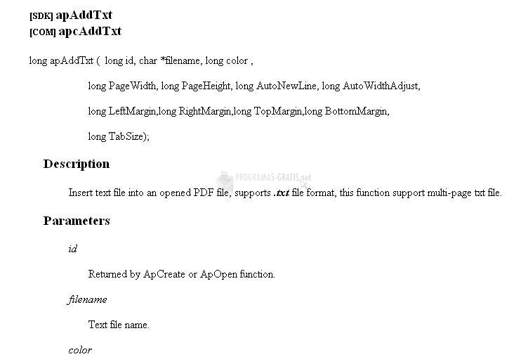 Pantallazo Text to PDF COM/SDK